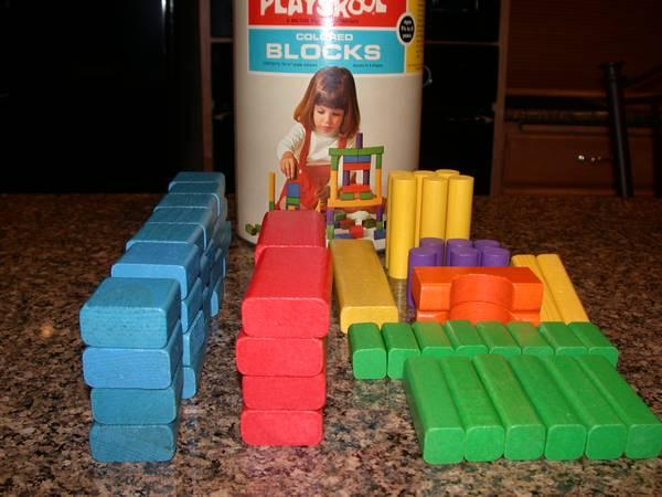 VINTAGE PLAYSKOOL COLORED BLOCKS - $35