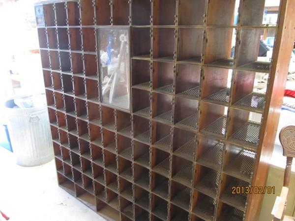 Vintage Post Office Box Unit W Brass Cubby S Wine Rack