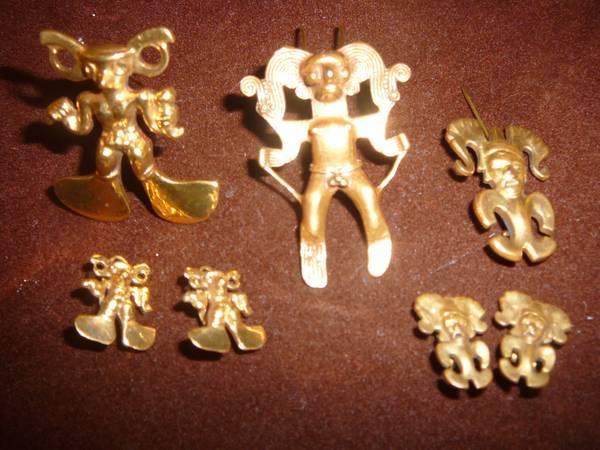 Vintage Pre Columbian Mayan Aztec Inca Gold Tone Fertility