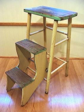 Vintage Primitive Wood Folding Step Stool With Orig Paint