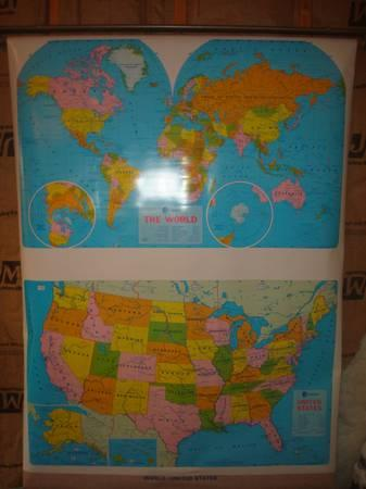 Roll Down World Map.Vintage Pull Down World Map United States For Sale In Muncy