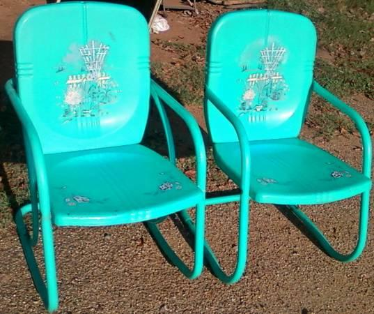 Vintage Retro Reproduction Metal Patio Chairs For Sale