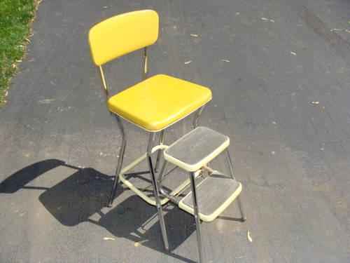 Wondrous Vintage Retro Yellow And Chrome Kitchen Step Stool And Chair Ocoug Best Dining Table And Chair Ideas Images Ocougorg