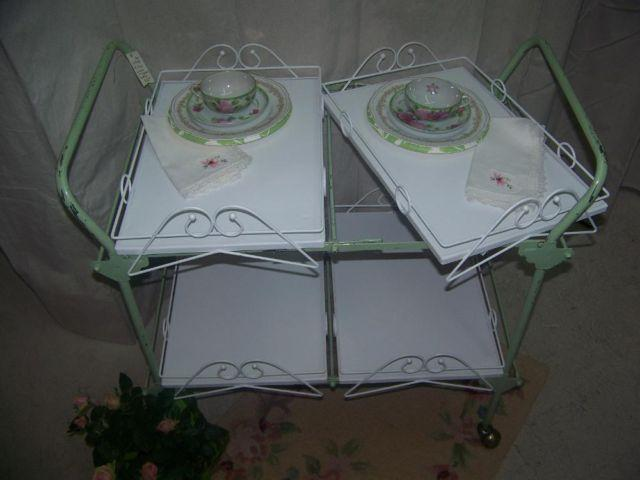 Vintage rolling cart rare removable trays so sweet shabby - Shabby chic decor for sale ...