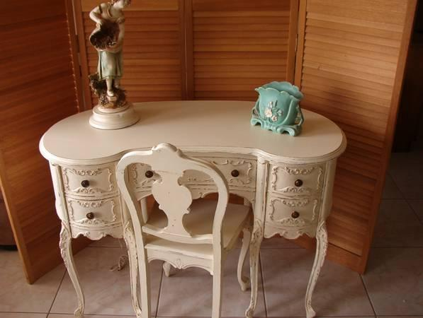 Vintage Romantic French Old White Kidney Shape Desk and
