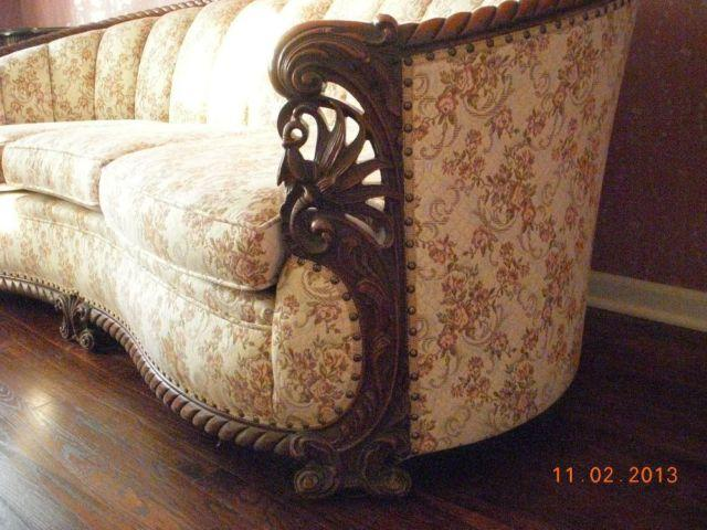 Vintage Rosewood Carved Wood Sofa For Sale In Saint