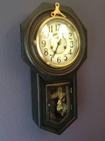 Vintage School House Regulator Wind Up Wall Clock For
