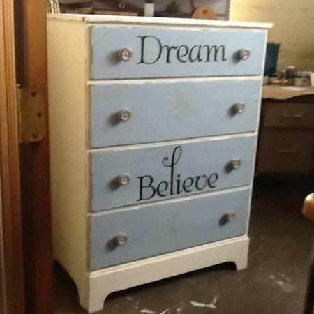 Vintage Shabby Chic Dresser Blue and White Distressed - Vintage Shabby Chic Dresser Blue And White Distressed For Sale In