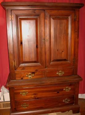 Vintage Solid Wooden Dresser Closet Armoire Wardrobe