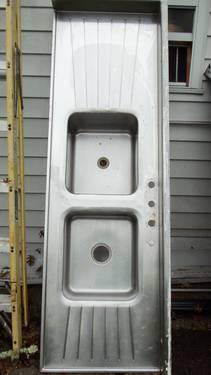Vintage Stainless Tracy Double Drainboard Sink For Sale In