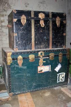 Vintage Steamer Trunks (2), Flat Tops