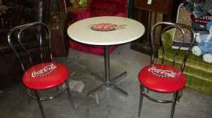 Vintage Style Coca Cola Soda Fountain Table W 2 Chairs