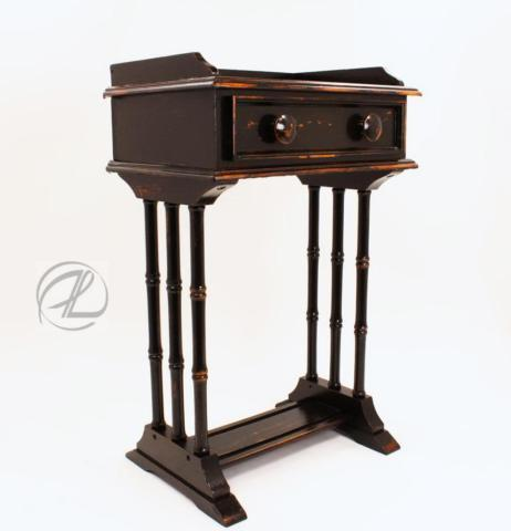 Vintage Table End Small Night Stand Black Drawer