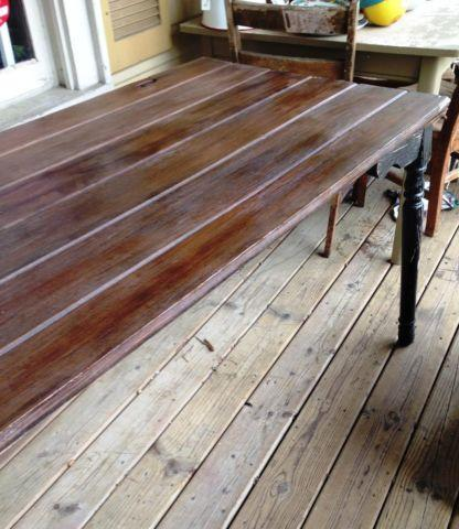 Vintage table from old shed door