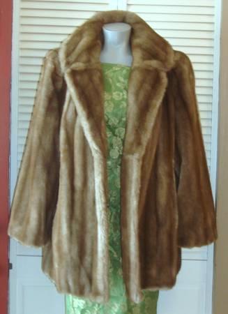 Vintage Tissavel Plush Brown Faux Mink Fur Mid Length