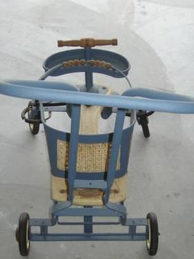 Vintage TRU-TEST 1930s Wood  Tin Baby Stroller Buggy Walker