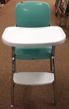 vintage turquoise baby high chair chrome for sale in. Black Bedroom Furniture Sets. Home Design Ideas