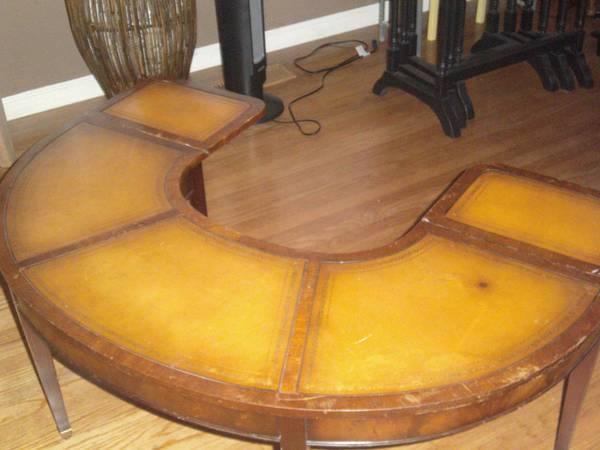 Vintage u shaped horseshoe drop leaf leather top coffee for Vintage horseshoes for sale