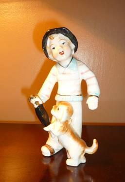 Vintage Ucagco Little boy w his dog figurine