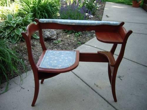 Vintage Unique Antique Padded Phone Gossip Bench Chair - Vintage Unique Antique Padded Phone Gossip Bench Chair Maple
