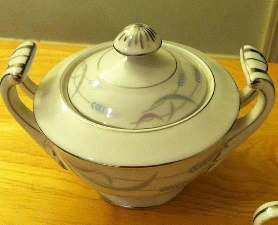 Vintage Valmont China Sugar Bowl Set For Sale In Greer