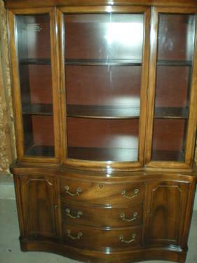 Vintage Veneered Solid Wood Hutch With Glass Cabinet On