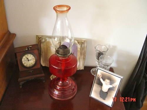 Vintage Victorian Ruby Red Oil Lamp w original beaded ruby tipchimney