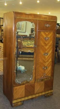 Vintage Waterfall Wardrobe Or Armoire For Sale In Gilbert