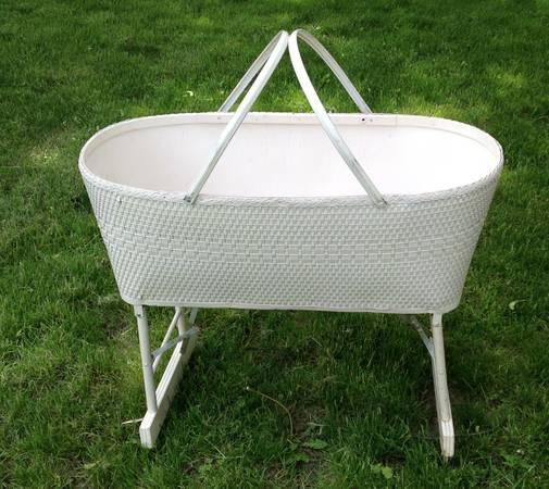 Vintage White Wicker BABY BASSINET