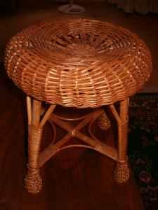 Vintage Wicker Stool 13