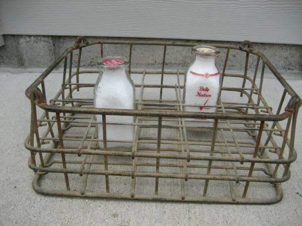 Vintage Wire Milk Crate  Milk Bottles - $15