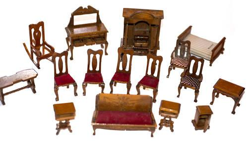 Vintage Wood Dollhouse Furniture Wooden Miniatures For