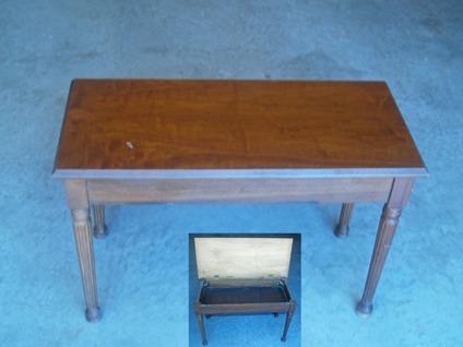Vintage Wood Stain Piano Bench w Storage