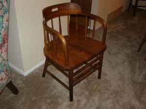 Vintage Wood Steno Office Den Library Barrel Back Chair Mentor