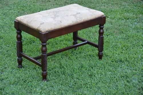 VINTAGE WOOD VANITY BENCH STOOL WITH CLOTH COVERED SEAT
