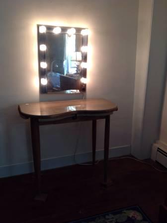 Vintage Wood Vanity Table, Hollywood Mirror - $50