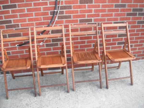 VINTAGE WOODEN FOLDING CHAIRS - $60