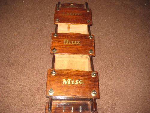vintage wooden mail letter bill organizer