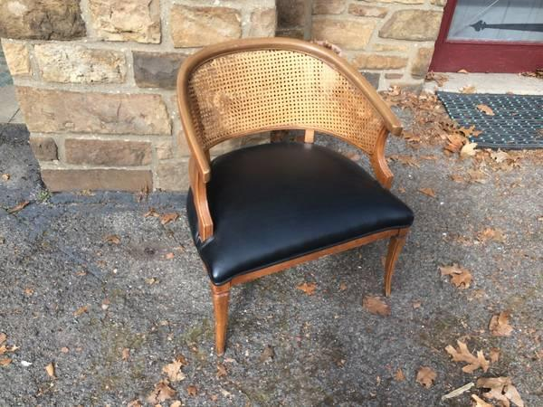 Vintage Woven Cane Barrel Back Chair with Black Vinyl & Vintage Woven Cane Barrel Back Chair with Black Vinyl Seat - for ...