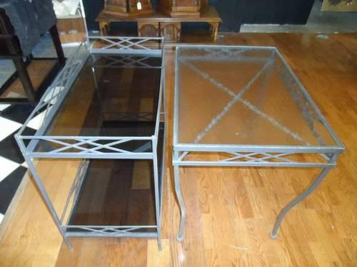 Vintage Wrought Iron Amp Glass Patio Outdoor Table Plant