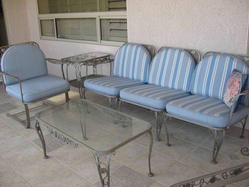 Vintage Wrought Iron Patio Furniture 8 Pcs Reversible X