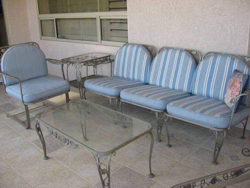 Vintage Wrought Iron Patio Furniture Reversible Cushions Heavy 8 pcs for Sale