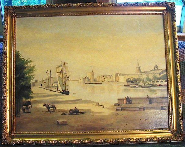 Vtg Black Americana Shipping Scene Oil On Canvas Painting
