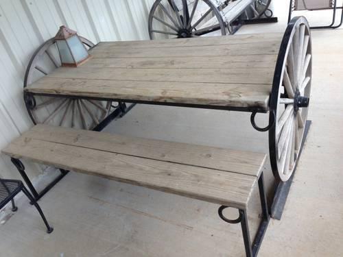 Wagon Wheel Picnic Table Custom Built Large Heavy Duty