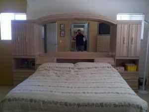 Beautiful Solid Oak Queen Bedroom Wall Unit Headboard | eBay