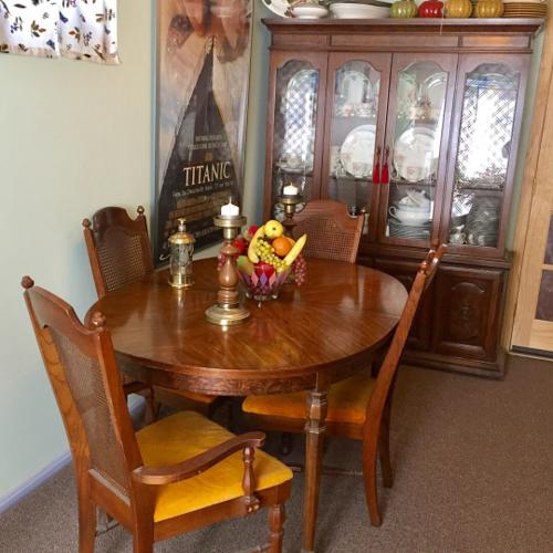 Walnut Dinning Room Table with Huge Lighted Two Pi