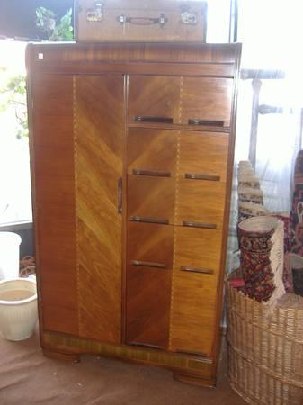 Walnut Hollywood Glam Waterfall Chifferobe Wardrobe Art Nouveau Vintag - $245