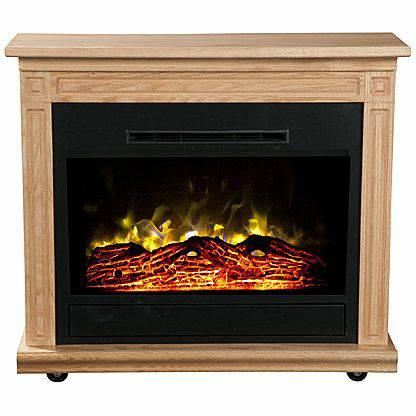 Warmth Rise Light Oak Spin N Glow Electric Fireplace Amish