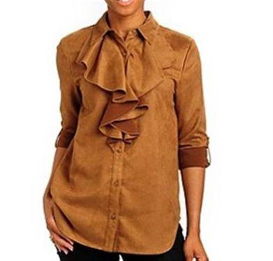 Washable Faux Suede Oversized Poet Button Front Shirt