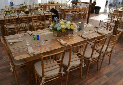 Wedding rent buy long wood rustic farm table party rental for Furniture rent to buy
